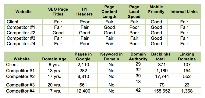 website seo audit data
